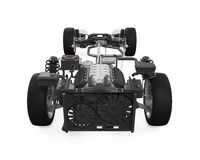 Car Chassis with Engine. Isolated on white background. 3D render Royalty Free Stock Images