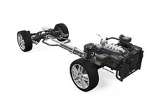 Car Chassis with Engine. Isolated on white background. 3D render Stock Photo