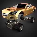 Car chassis with engine of luxury brandless sportcar. 3D rendered Stock Photo