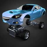 Car chassis with engine of luxury brandless sportcar. 3D rendered image Royalty Free Stock Photos