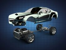 Car chassis with engine of luxury brandless sportcar. 3D rendered image Stock Photo