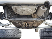 Car chassis with engine underbody isolated Royalty Free Stock Photos