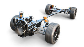Car chassis with engine on white isolate. 3d rendering. Car chassis with engine on white isolate. 3d rendering Royalty Free Stock Photos