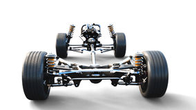 Car chassis with engine on white isolate. 3d rendering. Car chassis with engine on white isolate. 3d rendering Stock Photo