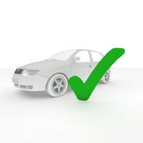 Car check. Car with a green checkmark Royalty Free Stock Images