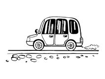 Car child drawing sketch. The car in the body wagon goes on the road. Sketch styled for children drawing Royalty Free Stock Photos