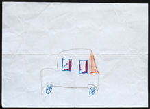 Car. Child's Drawing. Stock Image