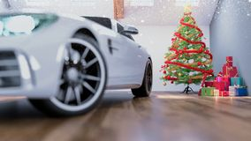 Car in chrismas room and decorated. 3d rendering and illustration Stock Photography