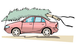 Car with christmas tree Royalty Free Stock Images