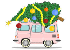 Car with christmas tree Royalty Free Stock Photos