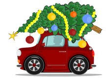 Car with christmas tree Stock Images