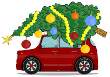 Car with christmas tree Stock Photo