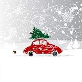 Car with christmas tree, winter blizzard for your Royalty Free Stock Photo