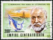 CAR - 1977: shows Ernest Hemingway 1899-1961, Nobel Prize winner for Literature 1954. CAR - CIRCA 1977: A stamp printed in Central African Republic shows Ernest Royalty Free Stock Photo