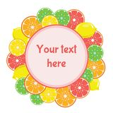 Car with citrus fruits surround text vector illustration