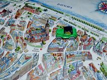 Car on the city map of Riga. Old town. Travel planning map. Tourist route. stock photos
