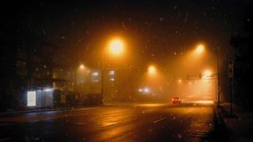 Car On City Road In Blizzard stock video footage