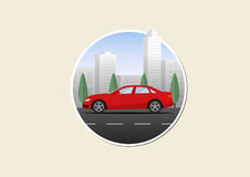 Car on a city road round illustration Royalty Free Stock Images