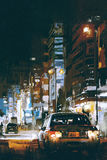 Car in city street at night with colorful lights. Digital art of cars in city street at night with colorful lights, illustration painting royalty free illustration