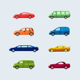 Car Classification - modern vector flat design icons set. Vehicle types - hardtop, sedan, sports, limousine, compact, minivan, convertible, cabriolet coupe Stock Photo