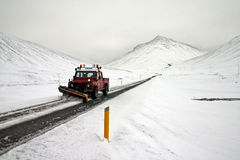 Car cleaning road. In Iceland stock image