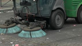 Car is cleaning the road. Garbage on the street. Reduce levels of pollution. Get rid of trash stock video footage