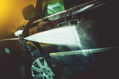Car Cleaning by Water Cleaner Stock Photos