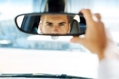Close up of a rearview mirror stock photo
