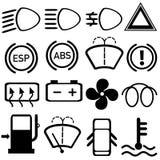 Car cluster dashboard symbols concept Stock Image