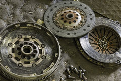 Car clutch components. Component parts of a clutch mechanism for a motor vehicle Royalty Free Stock Photos
