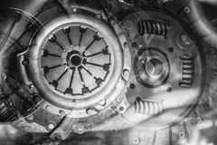Car clutch elements in a collage Stock Photos