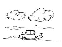 Car co2 smoke. Hand drawing sketch vector Royalty Free Stock Images