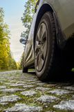 Car on a cobbled road. In an autumn forest Royalty Free Stock Photos
