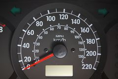 Car cockpit. Automobile speedometer. Speed, a drive stock photo