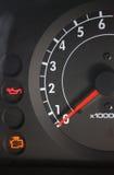 Car cockpit. Indicators of a condition of the car, gasoline, tachometre stock image