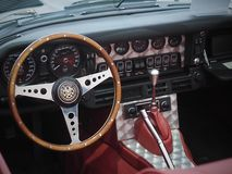 CAR COCKPIT -Goodwood Festival of Speed and Revival. The only historic race meeting to be staged in period theme, recreating the romance and glamour of motor stock photo