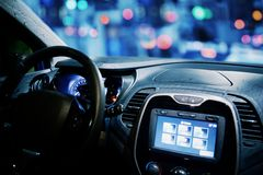 Car cockpit with gps and connection screen Royalty Free Stock Photo