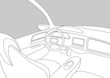 Car cockpit and various displays, line drawing illustration Stock Photos