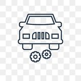 Car with cogwheels vector icon isolated on transparent background, linear Car with cogwheels transparency concept can be used web vector illustration