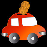 The car with coins Stock Photography