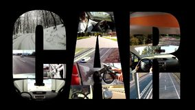 Car collage on black. Several videos of cars and transport stock video footage