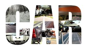 Car collage on white. Several videos of cars and transport stock video
