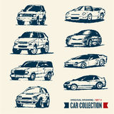 Car collection. Drawing set 2. Royalty Free Stock Image