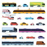 Car collection. Vehicles city transportation. Cars helicopter tram bus taxi police convertible scooter motorcycle smart royalty free illustration