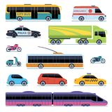 Car collection. Vehicles city transportation. Cars, scooters motorcycle. Side view urban auto isolated vector set vector illustration