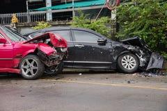 Car collision accident crash barrier fence. Car accident crash barrier fence Royalty Free Stock Photo