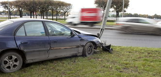 Car collision. With a pillar lighting royalty free stock photography