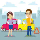 Car Collision Report. Man and woman calling car insurance to report collision accident in city royalty free illustration