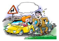 Car Collision between two motorists Stock Photo