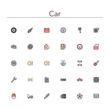Car Colored Line Icons. Set. Vector illustration Royalty Free Stock Photo